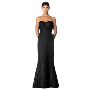Bari Jay Black Lace Fit and Flare Strapless Dress